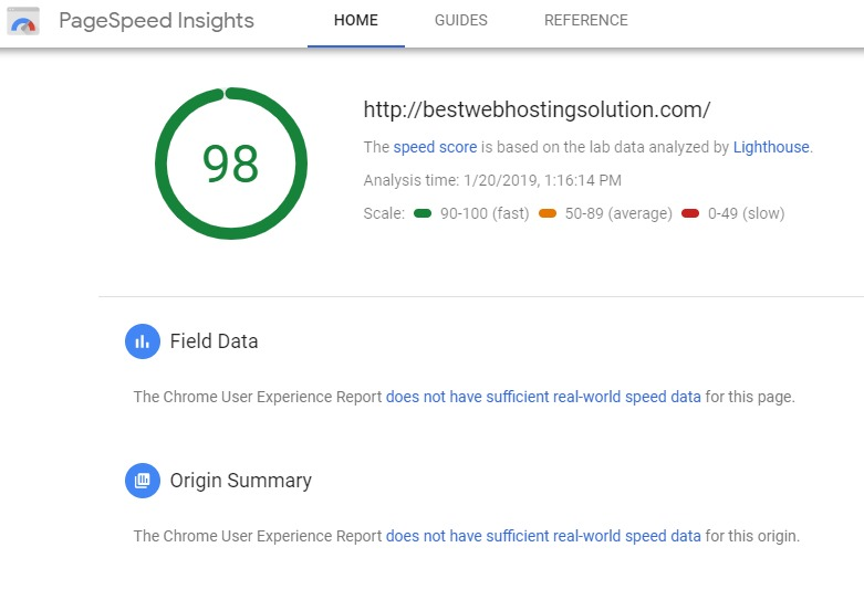 PageSpeed Insights - BestWebHostingSolution